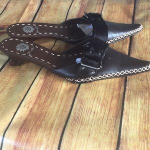 Yellow Box slipper mules size 81/2 brown New